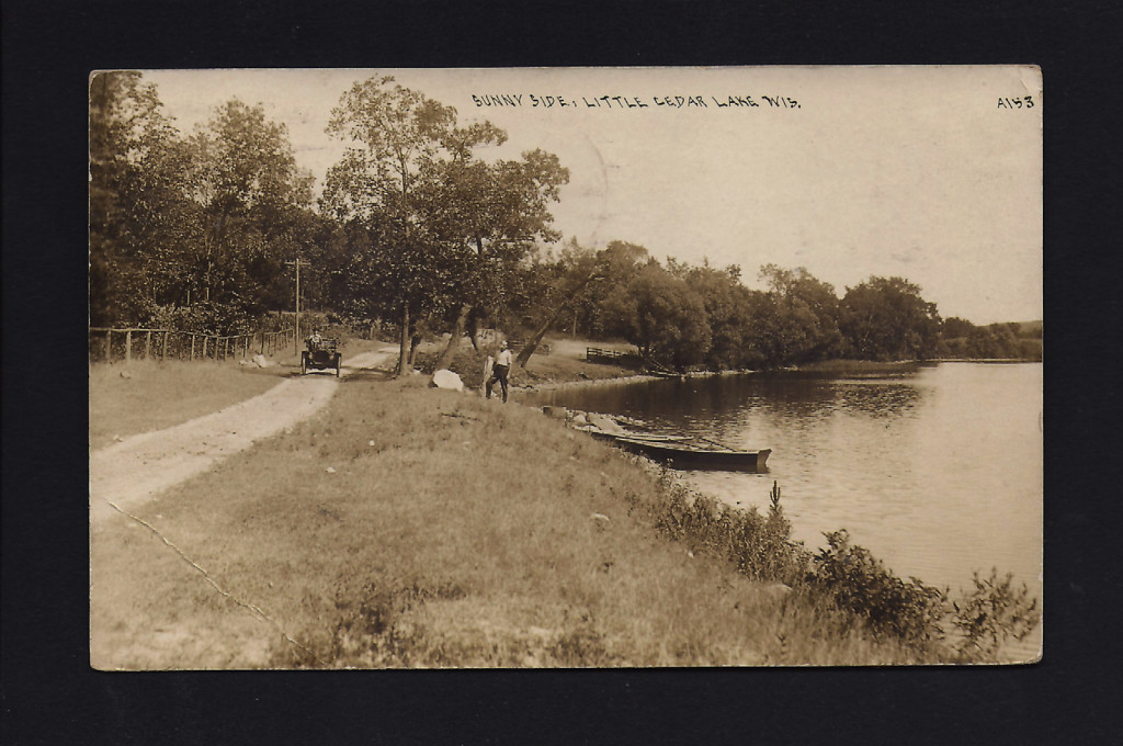Sunnyside shoreline with car-circa 1910 copy
