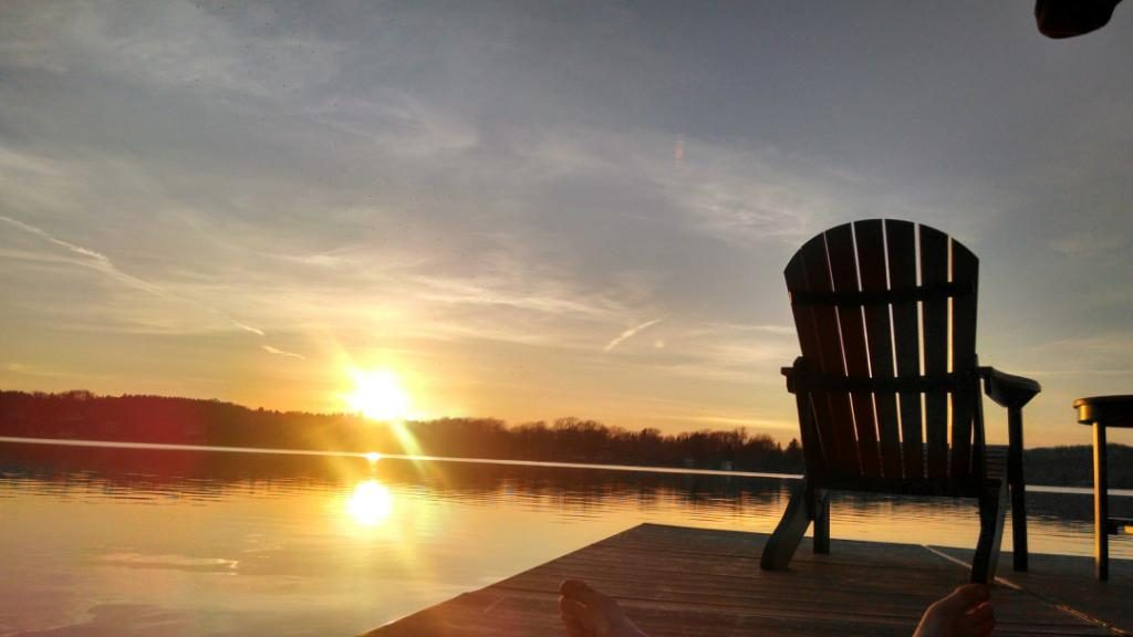 LCL sunset and Adirondack chair